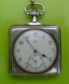 Omega Solid Silver Open Face Square Pocket Watch Chain Thula / Horse 1912.