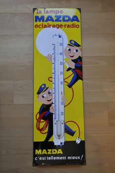 Enamel sign with thermometer - MAZDA lamps - 1950 s