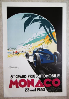 Large serigraphy of the Grand Prix of Monaco -Geo Ham - 1933
