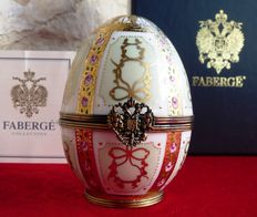 "Authentic Fabergé Imperial egg ""Gold Enamel and Jeweled Egg"" - porcelain from Limoges - gold plated 24 k - signed - numbered - certificate of authenticity"