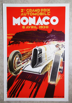 Large serigraphy of the Grand Prix of Monaco - Falcucci - 1930