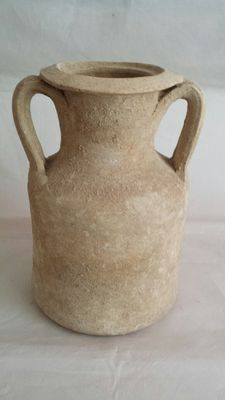 Roman earthenware amphora jar - height 185 mm