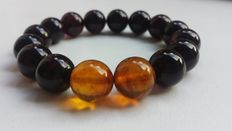 Beautiful Vintage Amber Bracelet Dark cherry & honey colours,Natural pressed Baltic Amber
