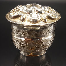 Silver scent box in the shape of a basket, Netherlands, early 19th century