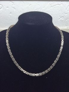 Silver men's king's braid link necklace