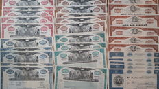 World, lot of 55 aviation shares:  4 colors sets Pan Am, Custer Wings, American Airlines, Ling-Temco-WTC AIR Freight and LTV Vought, INC.