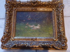 Signed painting W. Baks duck family in grass landscape.
