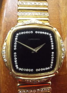 Longines - Wristwatch in 18 carat yellow gold-adorned with diamonds 3 carat,white stones.