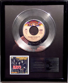 "KISS - I was made for loving you -  7"" Single Casablanca Records platinum plated record by WWA Awards"
