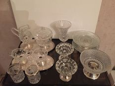 12crystal (glass )or silverware with silver edge and/or foot