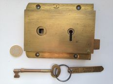 Old ship lock, tagged with MMS 1644 - copper - hallmarked