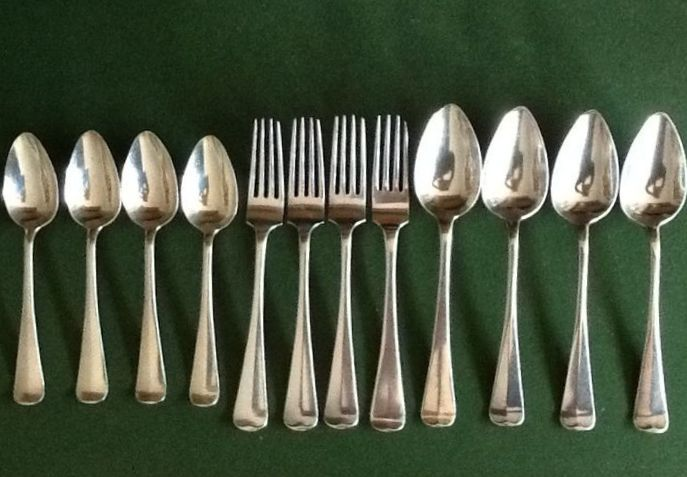 Four person silver cutlery with dessert spoons, J.M. van Kempen, 1858-1924