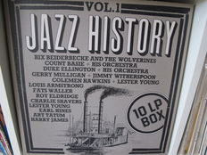 """Lot of 5 Jazz & Blues-Box-set's - 34 Albums Jazz History Vol. 1 & 2 & The World's Greatest Music Series: """"Pop"""" Jazz WGM[S]-2A & Boogie Woogie (Original Masterpieces) &  The Longines Symphonette – The Roaring '20s"""