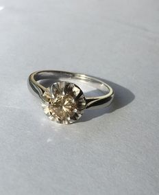 Ring with diamond, clear, 0.53 ct - NO RESERVE