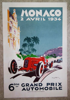 Large serigraphy of the Grand Prix of Monaco -Geo Ham - 1934