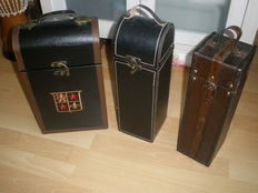 3 wooden wine boxes/cases