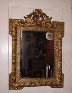 Large French baroque golden mirror, first half of the 20th century