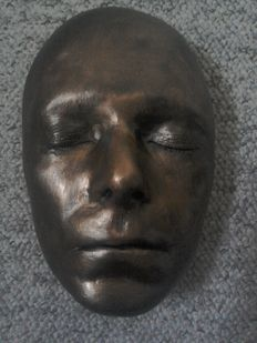 David Bowie Life Size Face Mask In Plaster Finished In Bronze Colour.