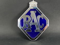 Excellent RAC Royal Automobile Club Enamel Chrome Auto Car Club Badge with Desmo Badge Bar Adaptor Fitted