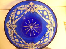 Large hand cut crystal cobalt blue dish/fruit bowl with flowers and ornaments
