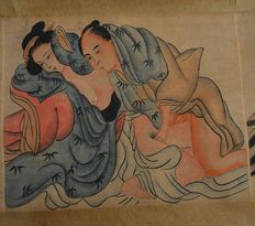 Oriental erotica; paper scroll with 7 Japanese erotic scenes-late 20th century