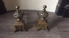 A pair of beautifully made brass andirons, France, approx. 1900