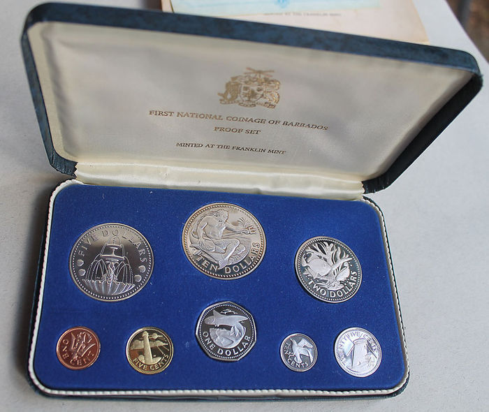 "Franklin mint ""Coin set from Barbados' 1973 incl. Silver"