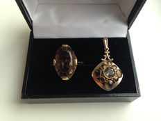 14 kt gold set, ring and pendant with smoky quartz, nicely decor