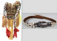 Long dance hip belt and dagger of cassowary bone - Asmat - West Papua