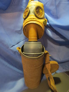 a gas mask and his protection box.