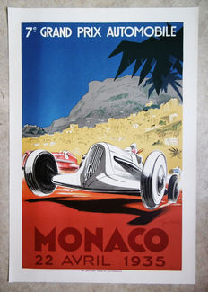 Large serigraphy of the Grand Prix of Monaco -Geo Ham - 1935