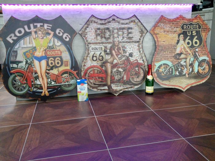 "3 huge 80 x 68 cm iron signs - theme ""sexy route 66"""