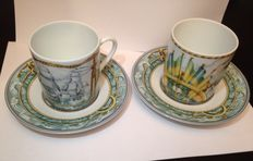 Hermes - 2 Patchwork Bourrasque Paris Espresso Cup and Saucers