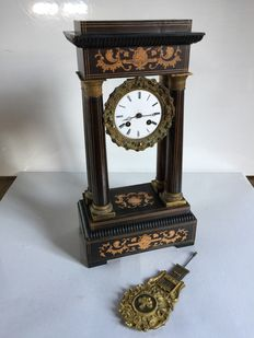 "Columned clock in marquetry - Vicenti Y Cie ""Silver medal - Italy - Napoleon III-era"""