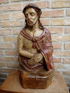 Wooden bust 'Christ - Ecce Homo' - Germany - Renaissance - 16th century