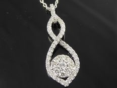 White gold pendant set with 56 cut diamonds of 0.50 ct in total