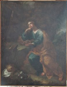 "17th century oil painting on canvas depicting ""St  Mary Magdalene Penitent"""