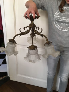 Antique bronze lamp with glass lamp shades