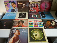 Lot with great female vocal  Jazz / Blues performers : Billie Holiday 3 x, Sarah Vaughan 5x, Eartha Kitt 4x, Soesja Citroen 2x, 14 albums in total