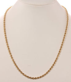 Gold rope necklace of 14 kt – 52 cm
