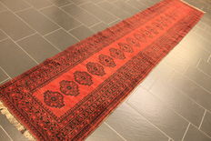A beautiful and decorative old handwoven Art Deco Afghan carpet in extra size, Oriental carpet, 85 x 470 cm, Afghan from around 85, Made in Afghanistan, in top condition