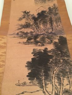 Calligraphy scroll - Hand-painted on paper - Landscape by the river, with house and fisherman in canoe - Japan - Circa 1900