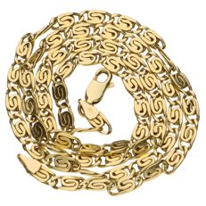 Yellow, 14 kt gold, curb link necklace – Length: 45 cm