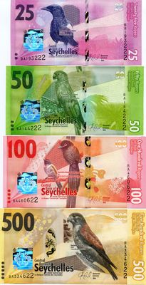 Seychelles - set of 4 banknotes - 25, 50, 100 and 500 Rupees 2016 - Pick New