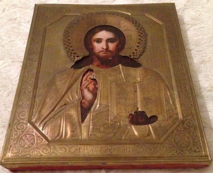 "Russian Icon ""Christus Pantocrator"" with oklad - Russian - end of 19th century"