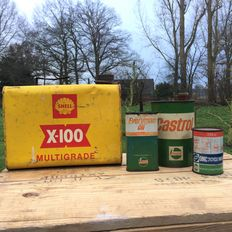 Set of 4 Vintage Oil Cans from 1950 to 1970 - Shell, Castrol