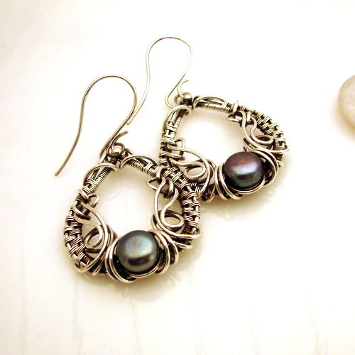 Silver Earrings with freshwater pearls- 10 mm diameter - hand made