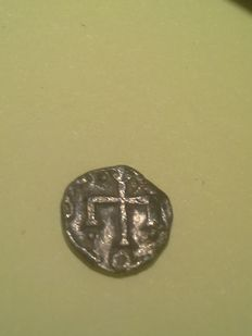 France – 8th century – Paris (Parisius) – Merovingian denier with cross moline – Silver
