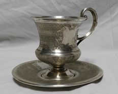 Silver cup with saucer, Franz Mosgau, Germany