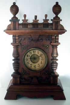 Germany Cathedral black forest carved wood musical Junghans melodie alarm Clock - by 1900